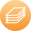 Plastic sheets in layers icon