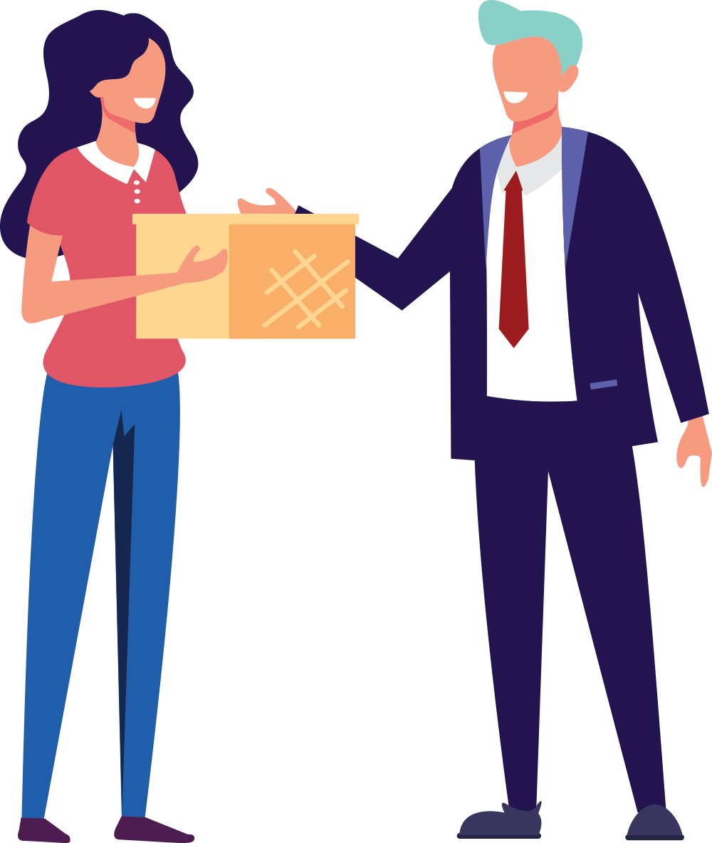 Smiling woman handing box to man